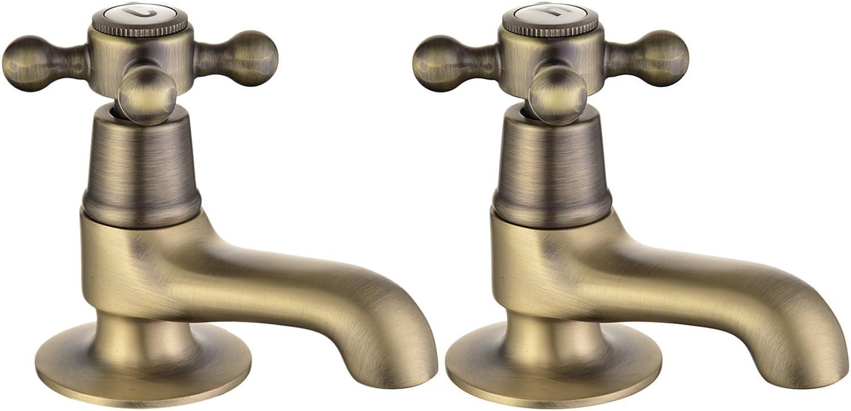 Basin Tap Pair Antique Bronze Sink Mixer Taps Cross Handles Bathroom Faucets Monobloc Peppermint