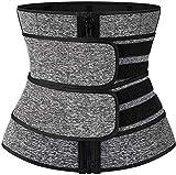 Entrenador de Cintura para Mujer Figura Que Forma La Cintura Cincher Control de Barriga Ajustable (Color : Gris(Double), Size : L)