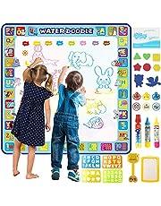 بساط رسم مائي ماجيك دودل كبير جدًا مقاس 100 × 100 سم، من توبيب. بساط تلوين مائي تعليمي ملون للأطفال الصغار والأولاد والبنات بعمر سنتين و3 و4 و5 و6 و7 و8 سنوات.