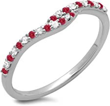 Dazzlingrock Collection 14K Gold Round Cut Ruby & White Diamond Ladies Anniversary Wedding Band Guard Ring