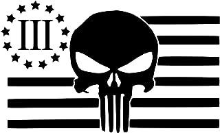 UR Impressions MBlk American Flag 3 Percenter Punisher Decal Vinyl Sticker Graphics for Cars Trucks SUV Vans Walls Windows Laptop Matte Black 7.4 X 4.5 Inch URI175-MB