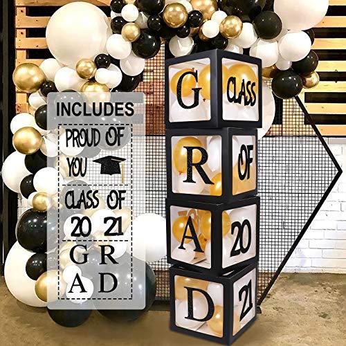 2021 Graduation Decorations Balloon Boxes - 4 Pcs Black Balloon Boxes, Paper Graduation Cap Card, Letters of GRAD, Class of 2021, Proud of You, Perfect for Graduation School Celebration Party Supplies