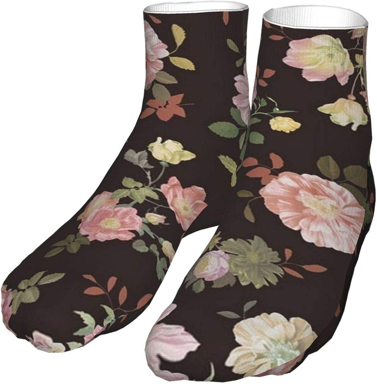 Crew Socks, Green Flowers Black Men's High Ankle Sock Sport Fishing Boys Fashion Casual Absorb Sweat Women Cushioned Crew Socks