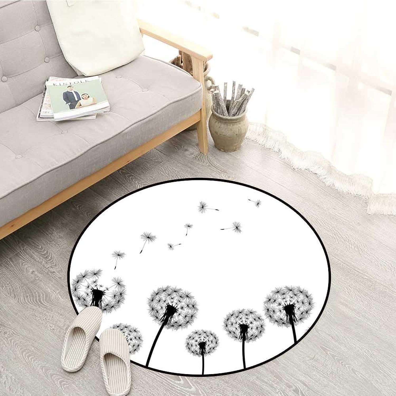 Dandelion Round Rugs Monochrome Black Flower Silhouettes Wind Effect Blowball Plant Pollens Nature Door Floor Mat for Bedroom 5'3  Black White