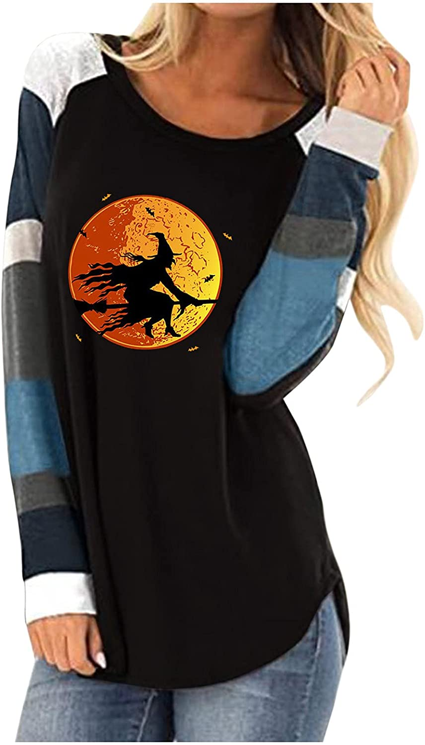 Women's Color Block Long Sleeve Tunics Blouses, Casual Round Neck Halloween Grimace Printing Loose Tops