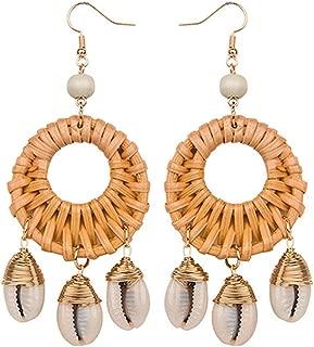 Earring Handmade Geometric Wooden Rattan Straw Weave Drop for Women Beach Ocean Wind
