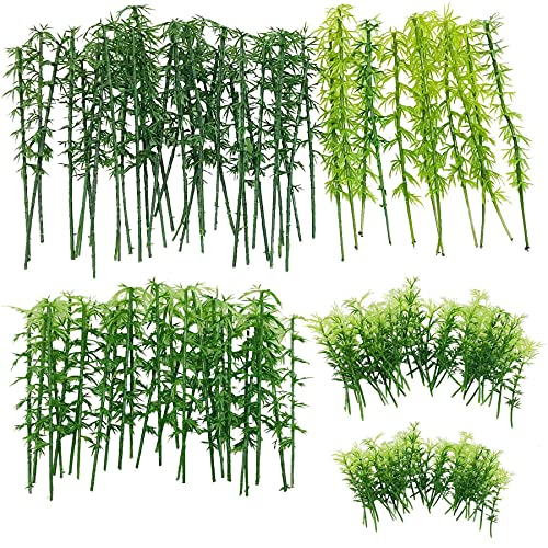 120 PCS Modelo de Árbol Bambú, Woohome 5 Tamaños Árboles de Bambú de Plástico Mezclados Árboles de Tren Árbol Diorama de Paisaje de Ferrocarril Árboles de Arquitectura para DIY Paisaje