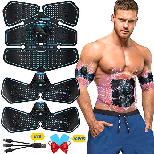 Popolic EMS Electroestimulador Muscular Abdominale Cinturón, Músculos Abdominales, 10 Modos de Simulación, 20 Niveles Diferentes, para Abdomen/Cintura/Pierna/Brazo de Hombre y Mujer