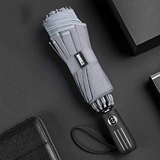 Household Umbrella Automatic Car Reverse Umbrella Folding Umbrella Men's Automatic Umbrella Women's Sun Protection Umbrella Four Colors LJJOZ (Color : Gray)