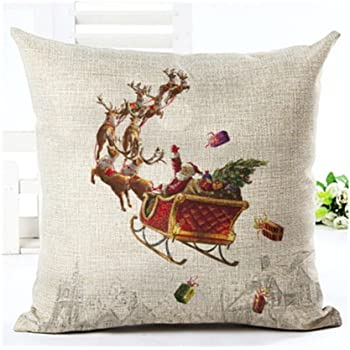 6 LYN Cotton Linen Square Throw Pillow Case Decorative Cushion Cover Pillowcase for Sofa 18X 18 Christmas pillow