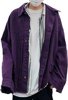 Abetteric Men Washed Burr Fold-Collar Button Baggy Hiphop Jean Jacket Coat