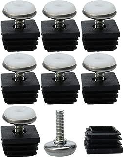 uxcell M8 Leveling Feet 30 x 30mm Square Tube Inserts Kit Furniture Glide Adjustable Leveler for Shelves Table Sofa Legs 8 Sets