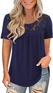 Women's Plus Size Short Sleeve Lace Pleated Shirts Summer...