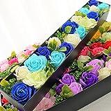 BIOBIO ローズBOXスリム フレグランスソープフラワー ふた付きボックス お祝い 記念日 お見舞い バレンタインデー ホワイトデー 母の日 (ブルー)