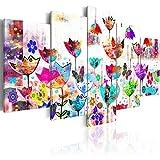 murando Cuadro en Lienzo Flores 200x100 cm Impresión de 5 Piezas Material Tejido no Tejido Impresión Artística Imagen Gráfica Decoracion de Pared Colorido para los niños Abstracto 020101-171