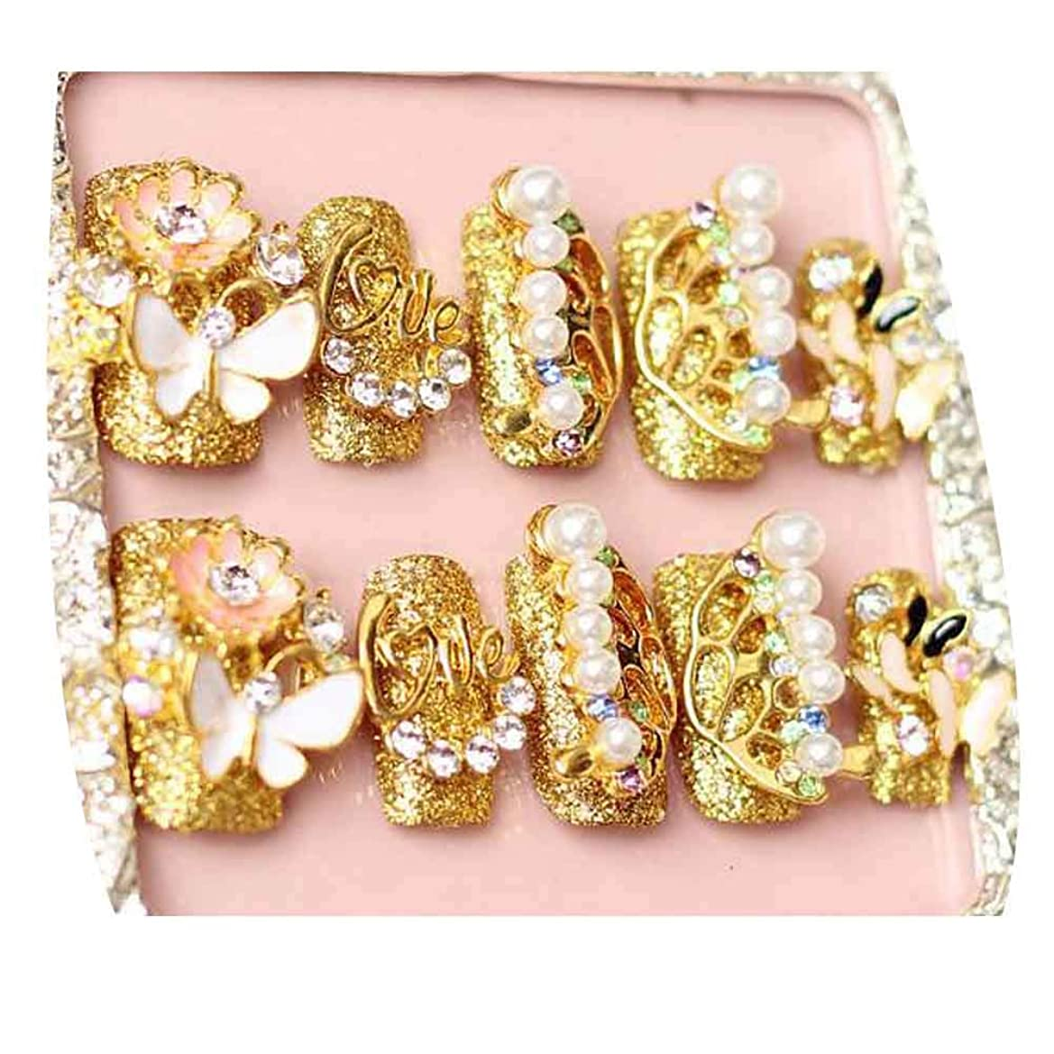 太字励起女の子蝶 - ゴールドカラー偽爪結婚式人工爪のヒントビーズネイルアート