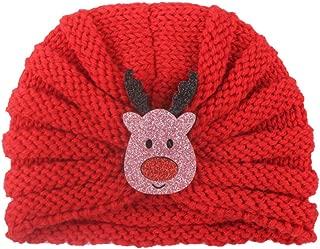 Fxbar Christmas Ornaments Newborn Baby Boy Girl Hat Santa Deer Christmas Tree Printed Knitted Headwear Cap Crochet Hat (E)