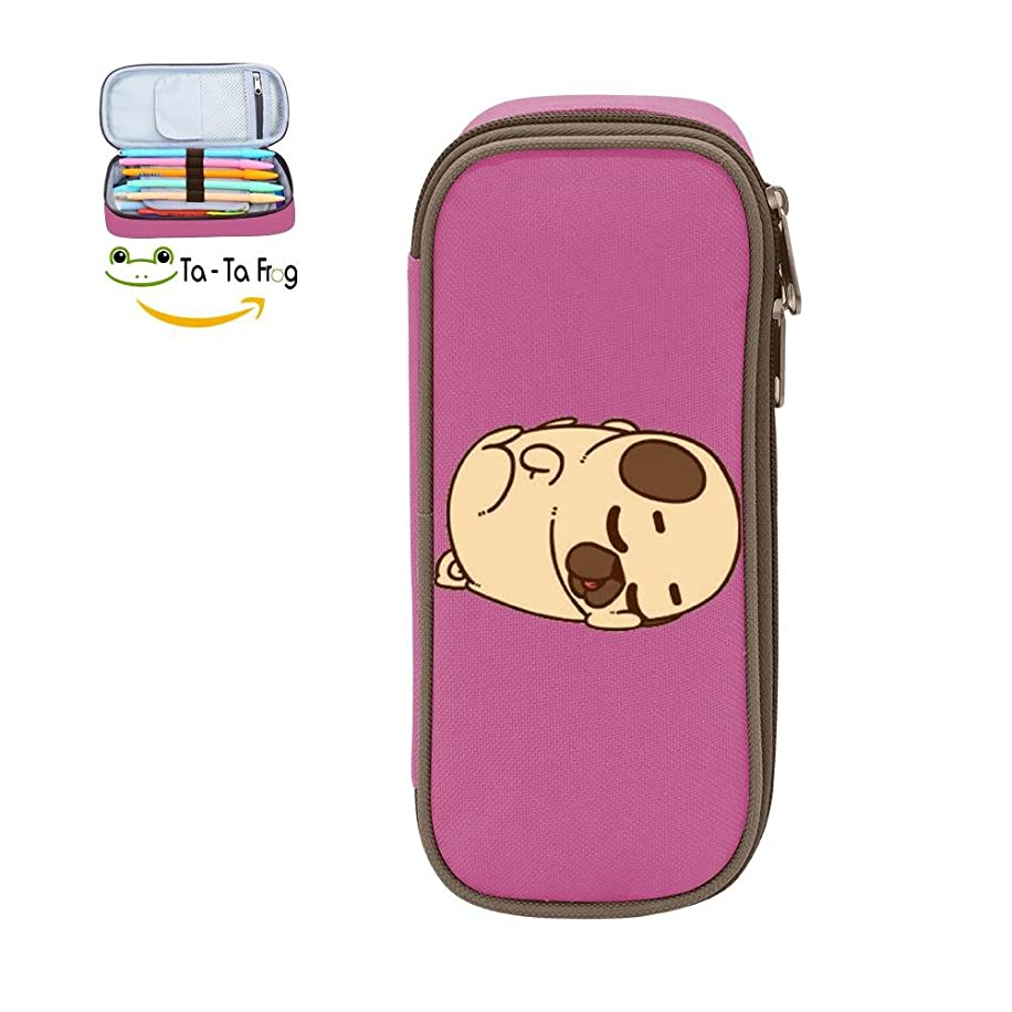 MOPE Sleeping Pug Pencil Case Double Zipper Large Storage Space Mulit-function Stationary Portable Makeup Bag
