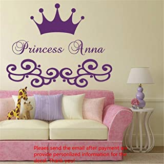 Hueoi Wall Decal Removable Quote Decor Design Decal Cute Custom Made Personalized Girl Name Crown Nursery Bedroom Decor - coolthings.us