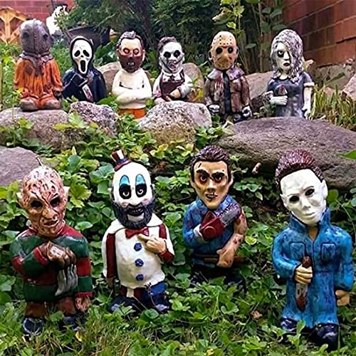 Horror Movie Garden Gnomes Statues, Nightmare on Elm Street Murderers Michael Myers Freddy Jason Halloween Hand Painted Resin Figurines for Indoor & Outdoor Lawn Patio Yard Décor, 10Pack