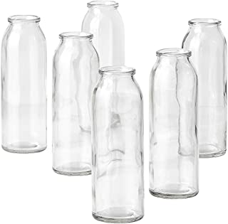 """Serene Spaces Living Clear Glass Bud Vases, Set of 6, Ideal for Tablescape at Weddings, Events, Measures 6.25"""" Tall and 2"""" Diameter"""