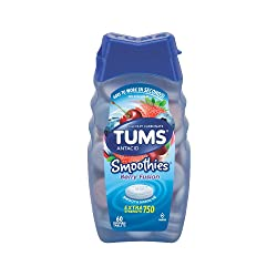 TUMS Smoothies Berry Fusion Extra Strength Antacid Chewable Tablets for Heartburn Relief, 60 Tablets