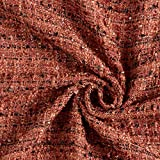 tessuto bouclé misto lana glitter paillettes – terracotta — Vendita al metro da 0,5m — per cucire moda da sera e da party, Giacche in maglia e Tailleur/Abiti da uomo