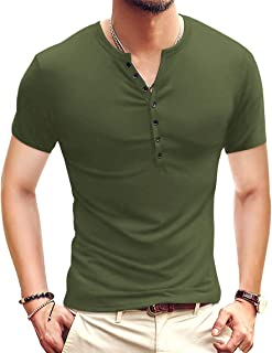 Mens Casual Slim Fit Basic Henley Long Sleeve Fashion T-Shirt