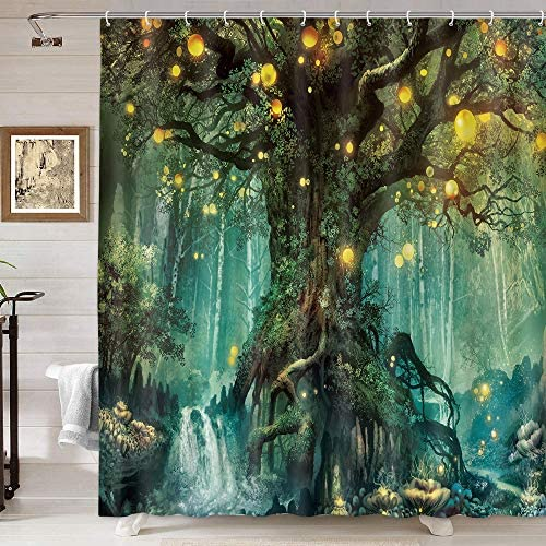 Forest Fairy Tales Shower Curtain Lanterns and Waterfalls Under Fantasy Large Tree Bohemian product image