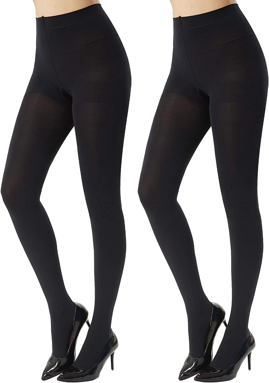 MANZI Women's 2 Pairs Super Opaque Tights for Women 120 Denier Control Top