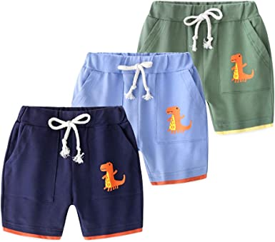 AMMENGBEI Boys 3-Pack Summer Cotton Shorts 2-10 Years