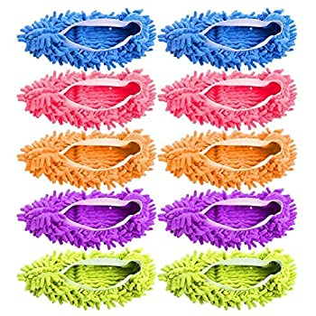 5-Pairs Mop Slippers Shoes for Floor Cleaning 10 Pcs Microfiber Shoes Cover Reusable Dust Mops for Women Washable Mop Socks for Foot Dust Hair Cleaners Sweeping House Office Bathroom Kitchen