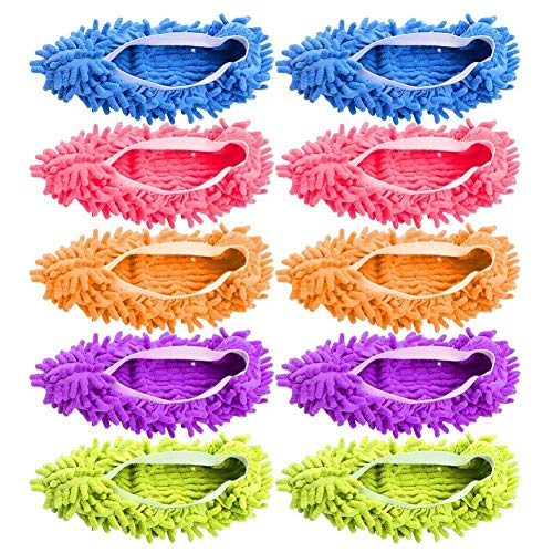 JIJIC 5 Pairs (10 Pieces) Multi-Function Dust Duster Mop Slippers Shoes Cover, Soft Washable Reusable Microfiber Foot Socks Floor Cleaning Tools Shoe Cover