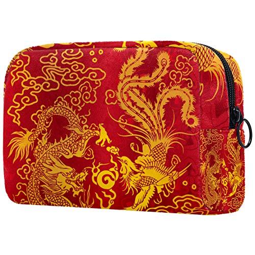 Bolsa de viaje para maquillaje de 18,5 x 7,5 x 13 cm, diseño de dragón y fénix