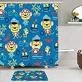 MANISENG Duschvorhang-Sets mit rutschfesten Teppichen,Affen im Dschungel Lustige Tiere Tropische Pf, Wasserabweisende Badvorhanghaken & Bademattenmatten enthalten