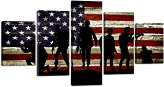 USA US American Flag Military Soldiers Army Wall Art Canvas Prints Thin Blue Red Line Home Decor Pictures for Living Room Bedroom 5 Panel Large Poster Painting Framed Ready to Hang (60
