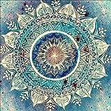 Reofrey Diamond Painting 5D Pintura Diamante Flor Mandala Azul Bricolaje Completo...