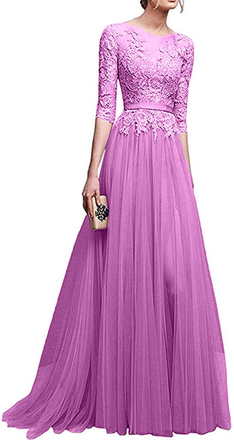 Ai Maria Simple Lace Tulle 3 4 Sleeves Long Prom Dress 2019 for Women