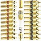RUNCCI-YUN 20 pcs Conector RCA Macho Resorte,Conector de Audio RCA,Conectores chasis RCA,RCA Vídeo Adaptador ,RCA Conector de Cable,Conector RCA sin Soldadura (Negro y Rojo)