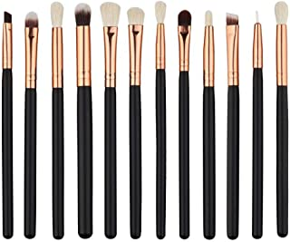 GSYH Eye Makeup Brushes Set,Premium Synthetic Cosmetics Eyeliner Eyeshadow Blending Brushes Set,12 Pcs,Black with Rose Gold