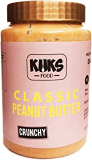 KUKS FOOD Classic Peanut Butter Crunchy (Gluten Free, Dairy Free, High Protein) Jar, 925 g