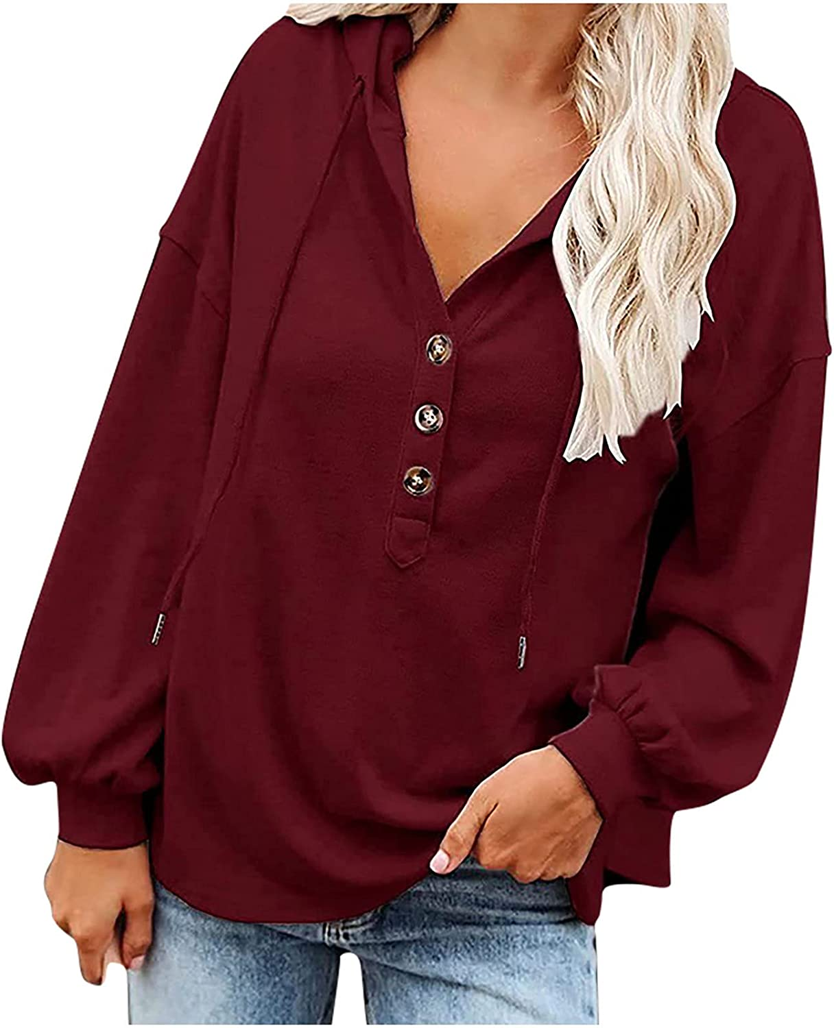 Loose Womens Tops V-Neck Button T-Shirts Casual Soild Blouses for Women Long Sleeve Drawstring Hooded Pullover