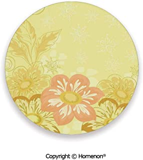 Ethnic Mexican Dahlia Flower and Curving Leaves Florals for Home,Hot Sale Coasters Protection From Drink Yelllow Pink,3.9×0.2inches(4PCS),Elegant Home Decor And Avoid Furniture From Damage