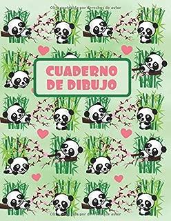 CUADERNO DE DIBUJO: BLOCK DE 100 PAGINAS EN BLANCO. LIBRETA ESPECIAL DIBUJO. REGALO CREATIVO Y ORIGINAL PARA NIÑOS Y JÓVENES. BONITO DISEÑO OSOS PANDA Y BAMBÚ. (Spanish Edition)