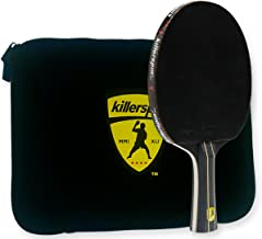 Killerspin Jet Black Ping Pong Racket Combo – Intermediate Table Tennis Bat| 5 Layer Wood Blade, Nitrx-4Z Rubbers, Flare Handle| Competition Ping Pong Racket| Protective Storage Case Sleeve