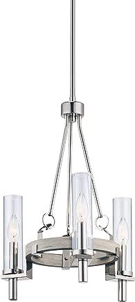 Kichler Lighting 44286WWW Telan - 3つのライトミニシャンデリア ホワイトウォッシュドウッド仕上げ クリアガラス付き