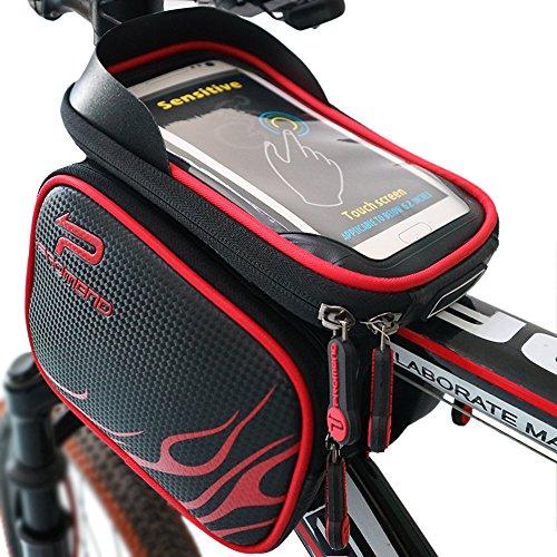 XBoze MTB BMX Borsa Bicicletta Impermeabile Borsa Telaio Bici Tubo Telaio Doppio Sacchetto Bici Supporto del Telefono con Touch Screen per 6,2 Pollici Smartphone (Rosso)