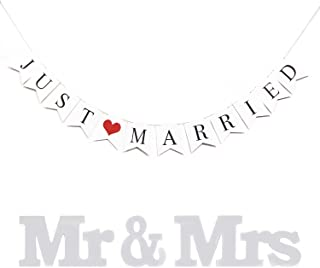 XuanHuZhe JUST Married Rustic Wedding Decoration Flag Garland Wedding Banner with Mr & Mrs Signs Letters for Sweetheart Table