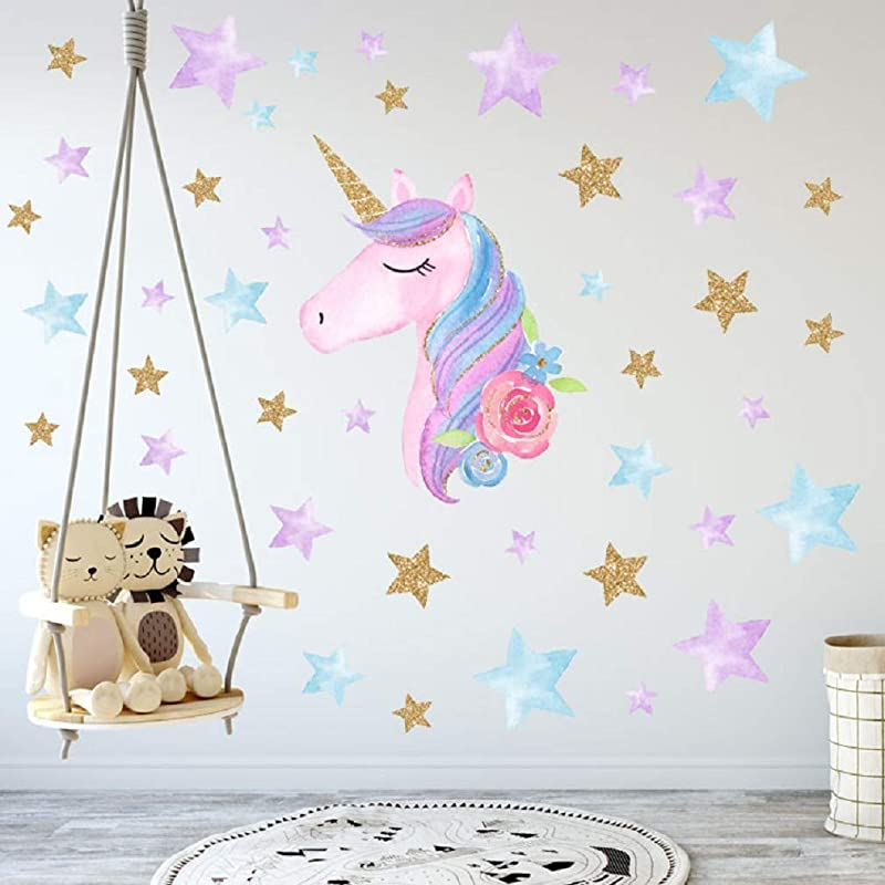 Cartoon Cute Unicorns Star Heart Wall Stickers Wallpaper DIY Vinyl Home Wall Decals Kids Living Room Bedroom Girls Room Decor