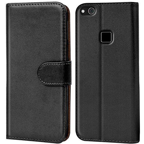 Verco Handyhülle für P10 Lite Hülle, Schutzhülle für Huawei P10 Lite Tasche PU Leder Flip Hülle Brieftasche - Schwarz